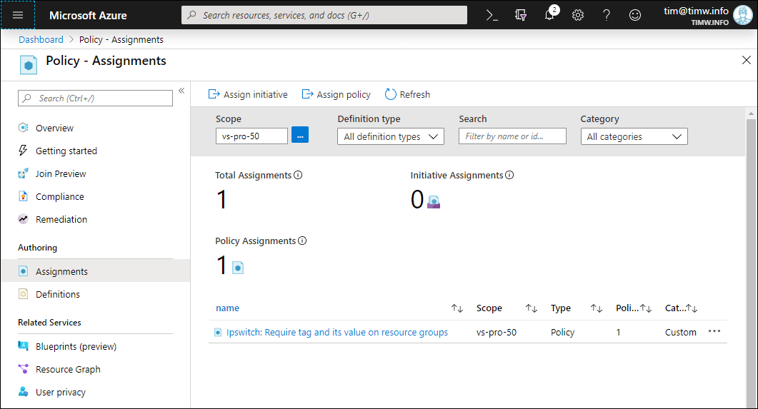 Figure 2. Our Assigned Azure Policy