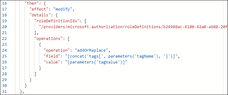 Figure 4. Using the modify Azure policy effect to remediate existing resources